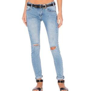 One Teaspoon Hoodlums Blue Fox Ripped Skinny Jeans